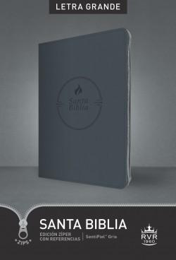 Santa Biblia RVR60, Edición zíper con referencias, letra grande (Letra Roja, SentiPiel, Gris)