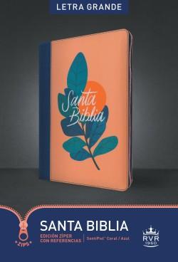 Santa Biblia RVR60, Edición zíper con referencias, letra grande (Letra Roja, SentiPiel, Coral/Azul)
