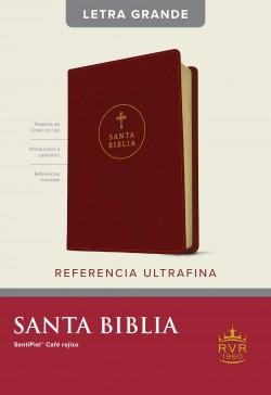 Santa Biblia RVR60, Edición de referencia ultrafina, letra grande (Letra Roja, SentiPiel, Café rojizo)