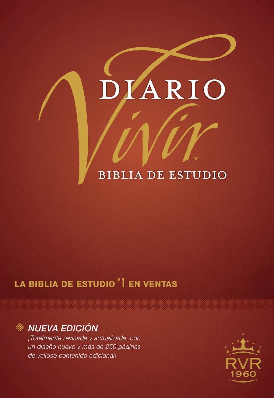 Biblia de estudio del diario vivir RVR60 (Letra Roja, Tapa dura, Vino tinto)