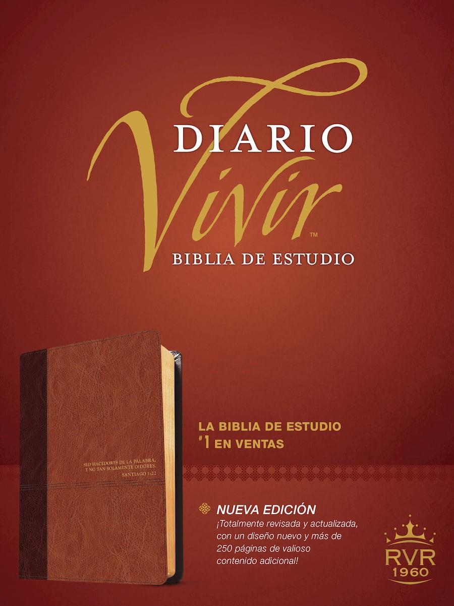 Biblia de estudio del diario vivir RVR60 (Letra Roja, SentiPiel, Café/Café claro, Índice)