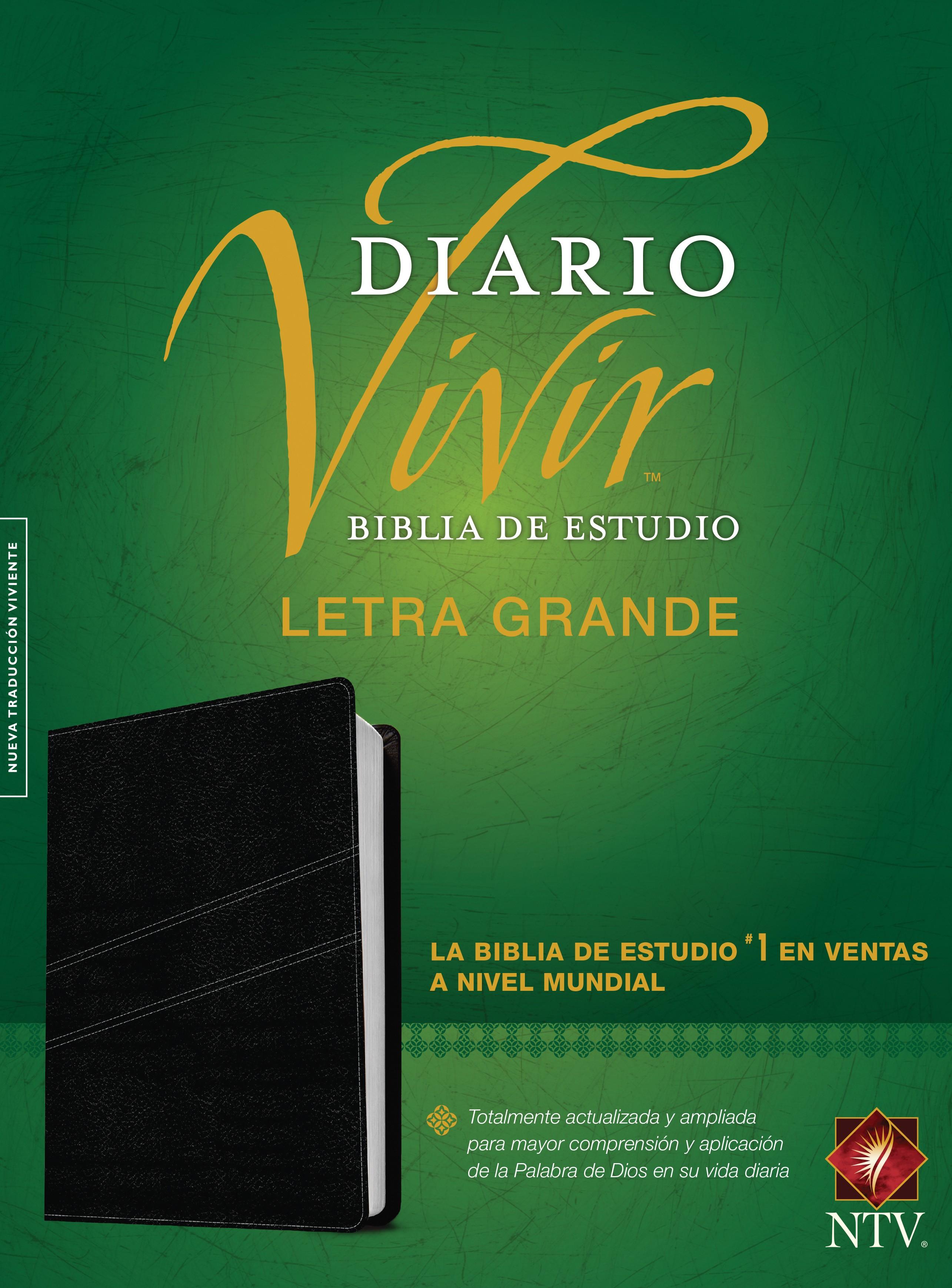 Biblia de estudio del diario vivir NTV, letra grande (Letra Roja, SentiPiel, Negro)
