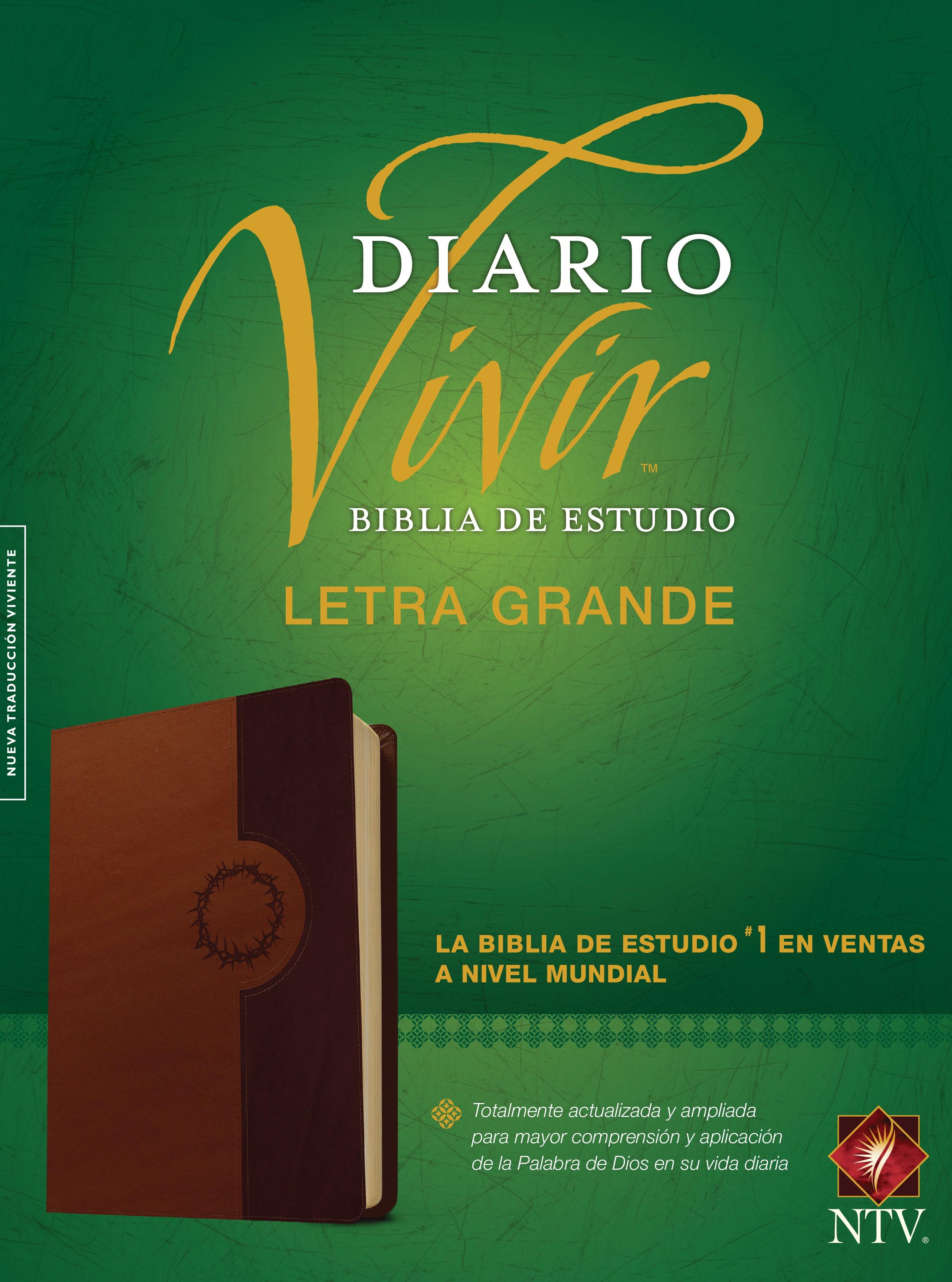 Biblia de estudio del diario vivir NTV, letra grande (Letra Roja, SentiPiel, Café/Café claro, Índice)
