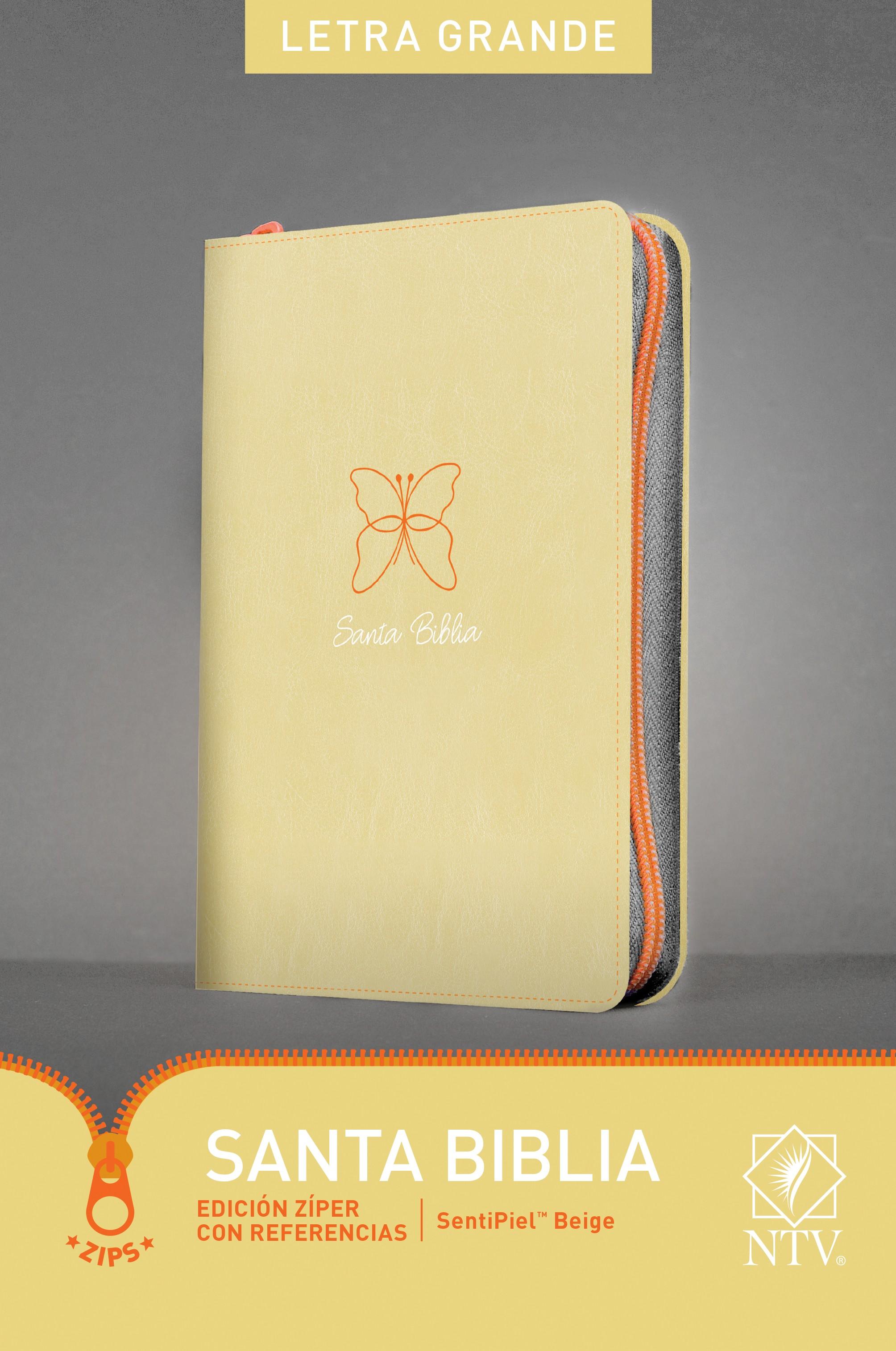 Santa Biblia NTV, Edición zíper con referencias, letra grande (Letra Roja, SentiPiel, Beige)