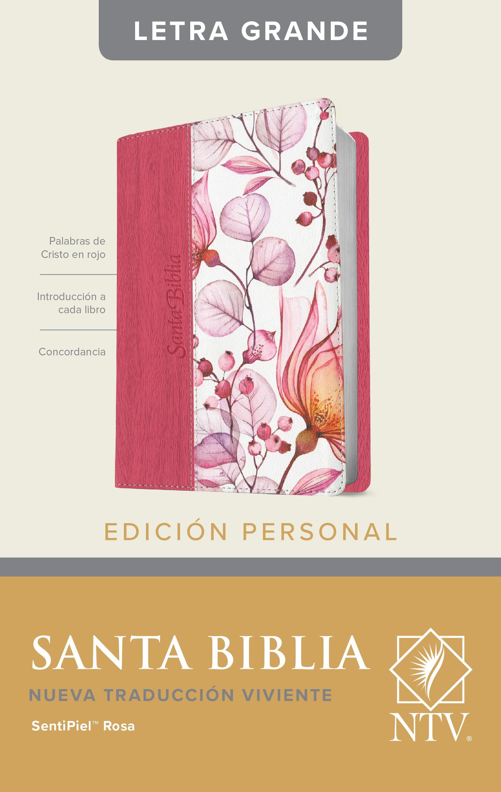 Santa Biblia NTV, Edición personal, letra grande (Letra Roja, SentiPiel, Rosa)