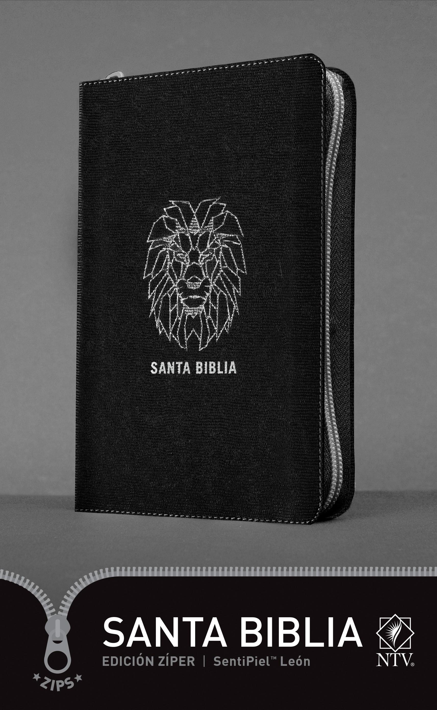 Santa Biblia NTV, Edición zíper, León (SentiPiel, Negro)