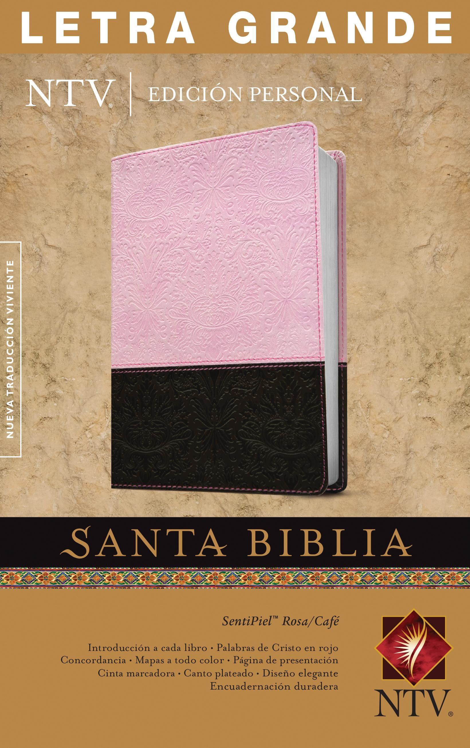 Santa Biblia NTV, Edición personal, letra grande (Letra Roja, SentiPiel, Rosa/Café, Índice)