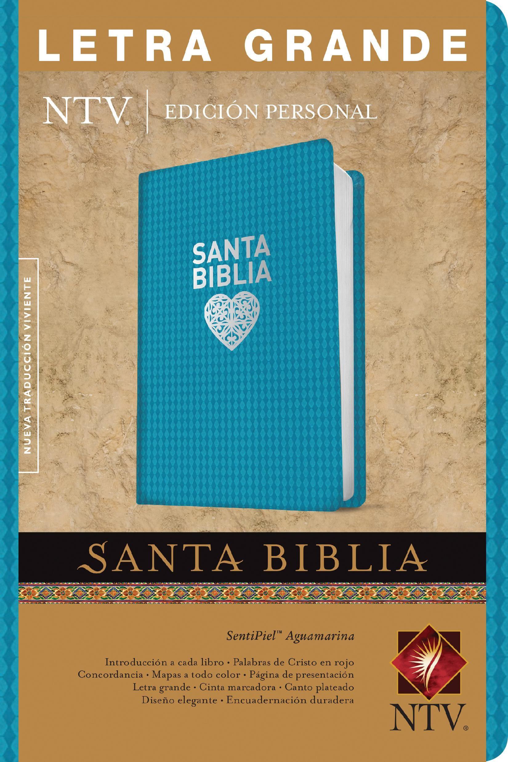 Santa Biblia NTV, Edición personal, letra grande (Letra Roja, SentiPiel, Aguamarina)