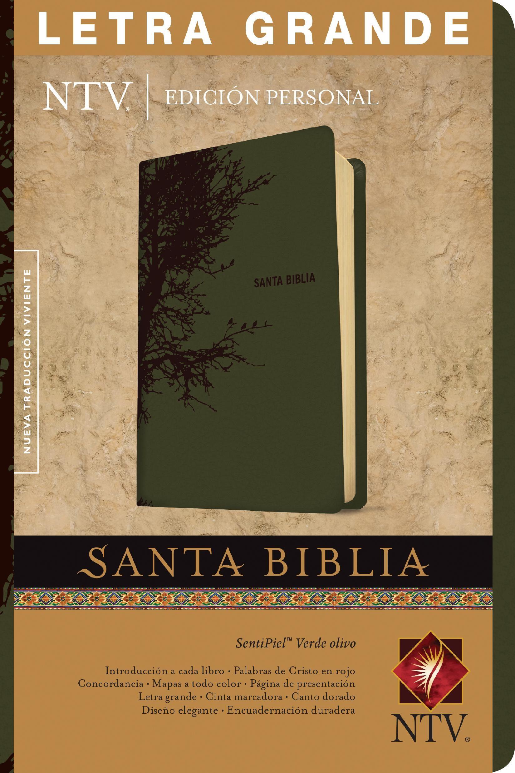 Santa Biblia NTV, Edición personal, letra grande (Letra Roja, SentiPiel, Verde olivo)