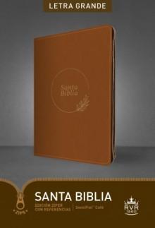 Santa Biblia RVR60, Edición zíper con referencias, letra grande (Letra Roja, SentiPiel, Café)