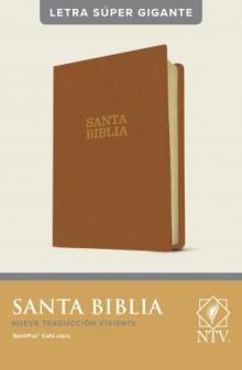 Santa Biblia NTV, letra súper gigante (Letra Roja, SentiPiel, Café claro, Índice)