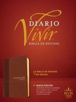 Biblia de estudio del diario vivir RVR60 (Letra Roja, SentiPiel, Café/Café claro)