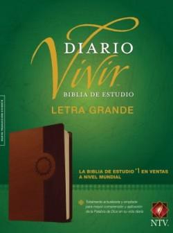 Biblia de estudio del diario vivir NTV, letra grande (Letra Roja, SentiPiel, Café/Café claro)