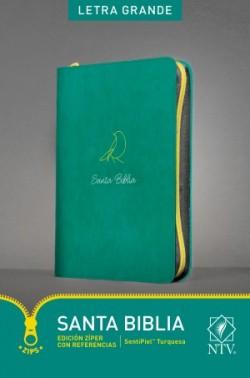 Santa Biblia NTV, Edición zíper con referencias, letra grande (Letra Roja, SentiPiel, Turquesa)