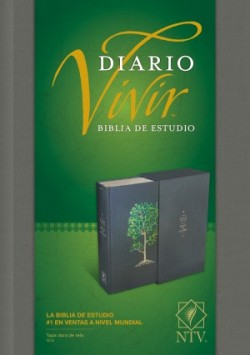 Biblia de estudio del diario vivir NTV (Letra Roja, Tapa dura de tela, Gris, Índice)
