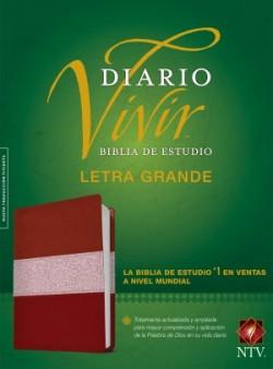 Biblia de estudio del diario vivir NTV, letra grande (Letra Roja, SentiPiel, Vino tinto/Rosa)