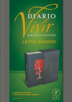 Biblia de estudio del diario vivir NTV, letra grande (Letra Roja, Tapa dura de tela, Gris, Índice)