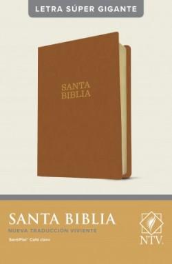 Santa Biblia NTV, letra súper gigante (Letra Roja, SentiPiel, Café claro)