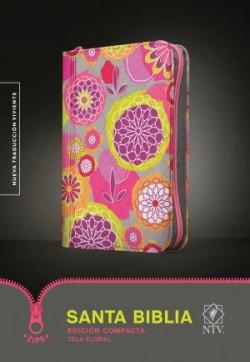 Santa Biblia NTV, Edición compacta, Tela floral (Tela, Floral/Gris floral)