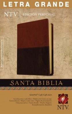 Santa Biblia NTV, Edición personal, letra grande (Letra Roja, SentiPiel, Café/Café claro, Índice)