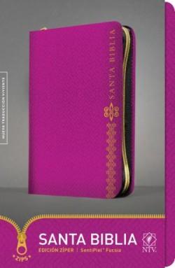 Santa Biblia NTV, Edición zíper (SentiPiel, Fucsia)